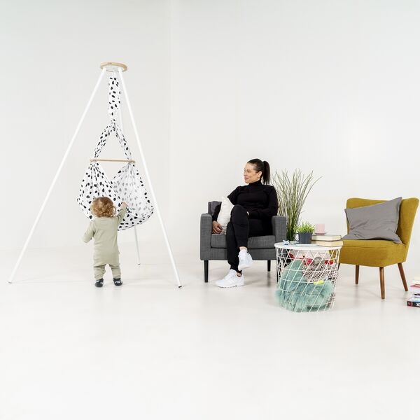 NONOMO® Wild-Dots: Swinging Hammock-Set Baby Classic with Ceiling Fixture - black-white
