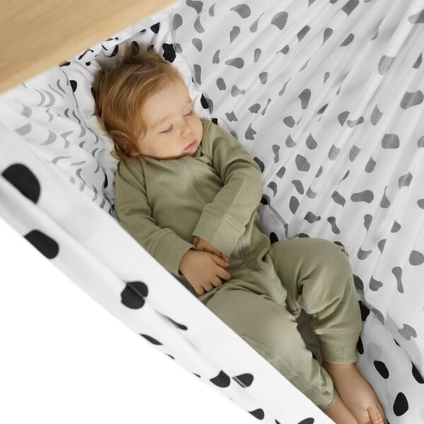 NONOMO® Rental Swinging Hammock-Set Baby Classic Wild Dots black-white with stand -basic- silver
