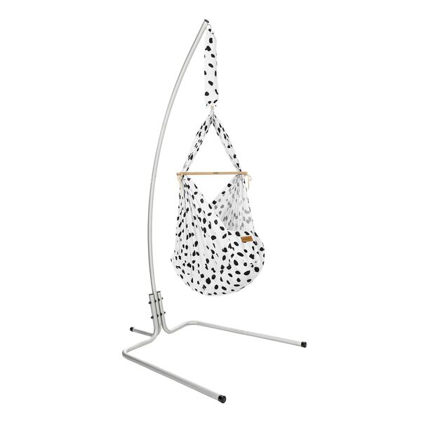 NONOMO® Rental Swinging Hammock-Set Baby Classic Wild Dots black-white with Stand -design- silver