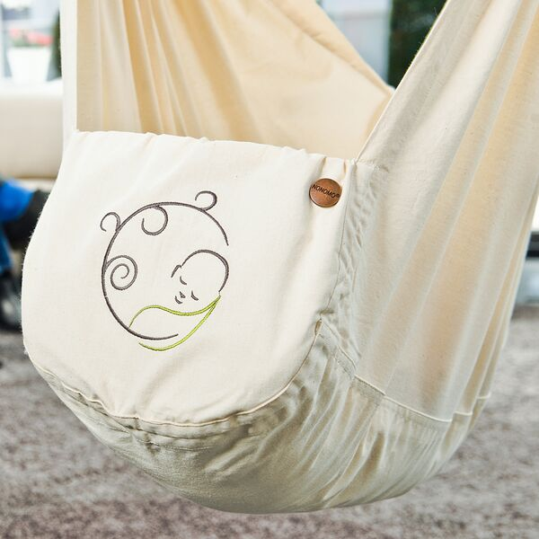 NONOMO® Rental Swinging Hammock-Travel Cot - Set Baby Classic with Polyester Mattress and Door Clamp - natural