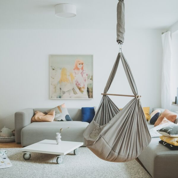 NONOMO® Rental Swinging Hammock Set Baby Classic with Polyester Mattress and Ceiling Fixture - grey
