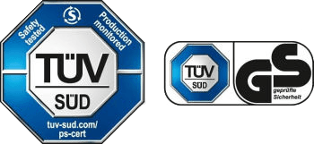 TÜV SÜD Safety tested - Production monitored