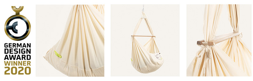 German Design Award 2020 with detail images of the baby swinging hammock