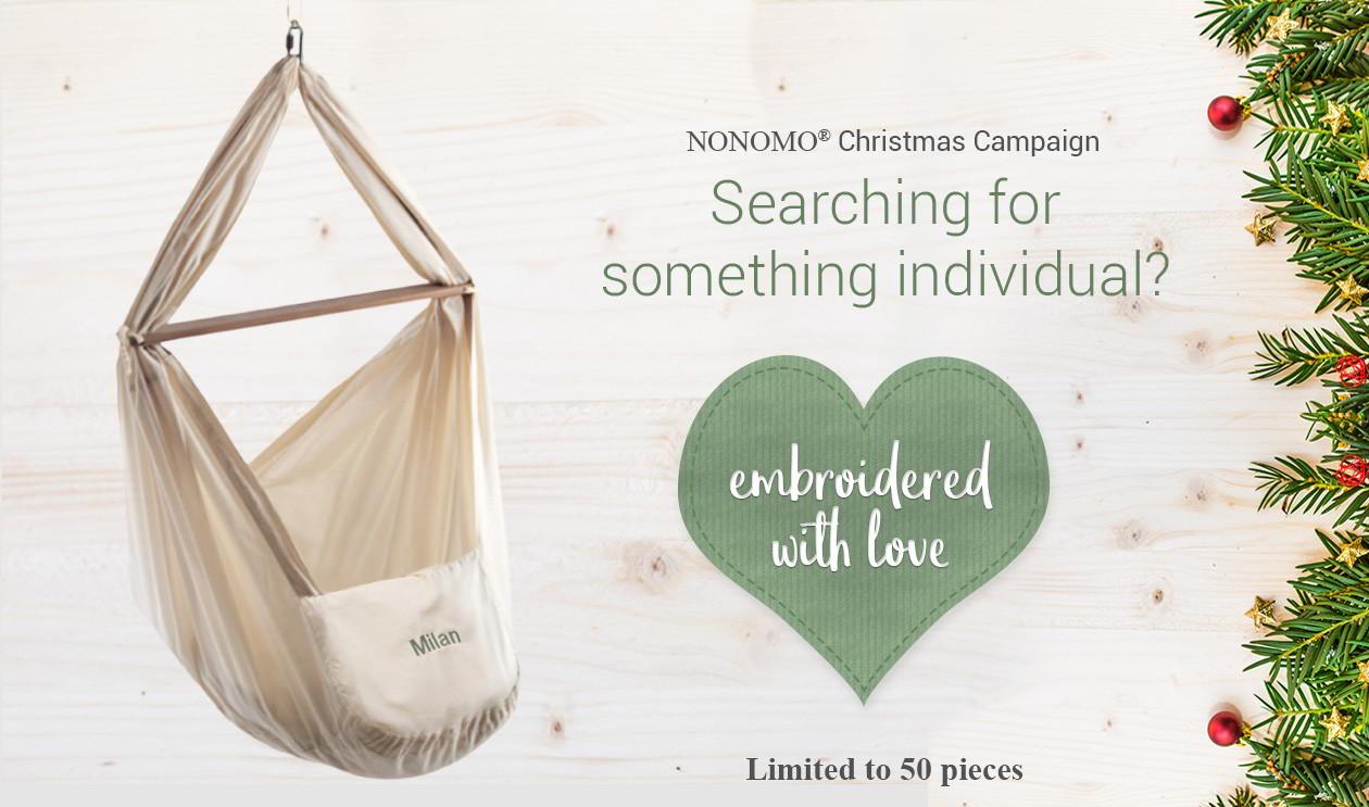 NONOMO® Weihnachtsaktion: Auf der Suche nach etwas exklusivem? NONOMO Federwiege mit Liebe handgestickt