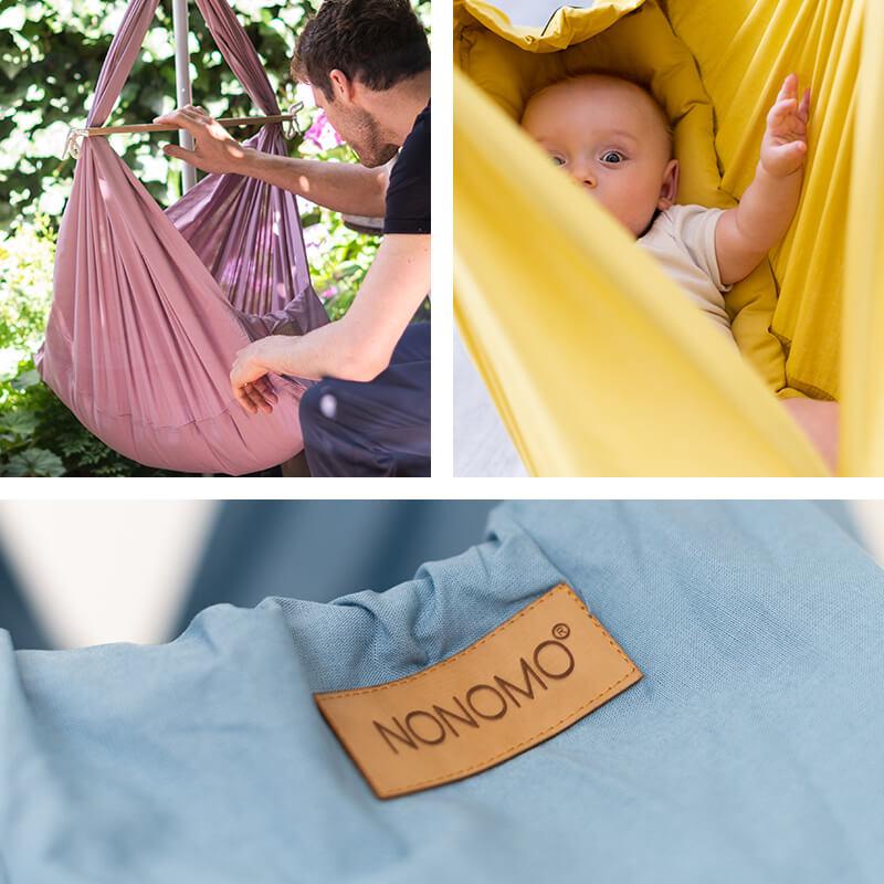 Swinging hammock in lilac, mustard and light blue
